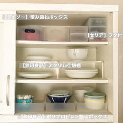 セリア/カップボード収納/カップボード/収納/キッチン雑貨/雑貨/... セリアの「フタ付き小物ケース」は筆箱の…(2枚目)