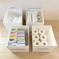 SKUBB(スクッブ) ボックス 3ピースセット ホワイト 31×34×33 cm | イケア(小物収納、小物入れ)を使ったクチコミ「イケアの「スクッブボックス」にティッシュ…」