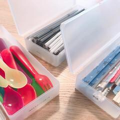 セリア/カップボード収納/カップボード/収納/キッチン雑貨/雑貨/... セリアの「フタ付き小物ケース」は筆箱の…(1枚目)