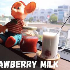 幸せ/癒し空間/トッポジージョ/イチゴミルク/イチゴ♪/わたしのごはん 🍓苺のコンポート🍓  牛乳で割ったらー …(1枚目)