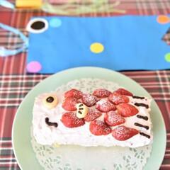 わたしのごはん/こどもの日/ケーキ/おやつタイム/LIMIA こどもの日に作った鯉のぼりケーキ🎏息子が…