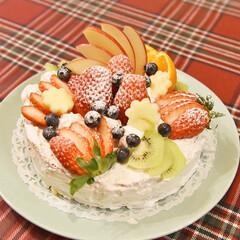男の子/バースデーパーティー/バースデーケーキ/お誕生日ケーキ/お誕生日/暮らし 息子のお誕生日ケーキ🎂フルーツもりもりに…