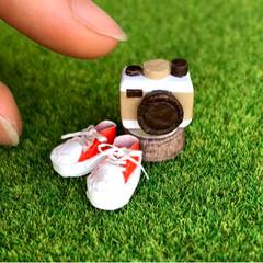 おしゃれ雑貨/paper/カメラ/スニーカー/紙/カミニチュア/... 折り紙でカメラ作ってみました📷 アンティ…