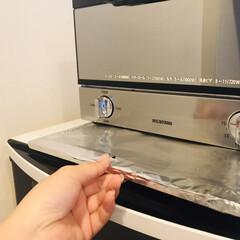 7872030 フジ アルミホイル 45cm×30m 4942015040182(その他調理用具)を使ったクチコミ「トースターのパンくず受けは、アルミホイル…」(1枚目)