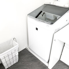 シンプル/洗濯機/洗濯物/洗濯/ランドリーバスケット/ランドリー/...  シンプルなスクエア型のランドリーバスケ…