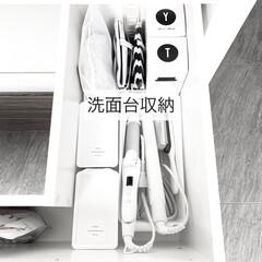白黒/モノトーン/洗面所収納/洗面台/100均/キャンドゥ/... 洗面台の収納 最近コテやヘアアイロンを真…