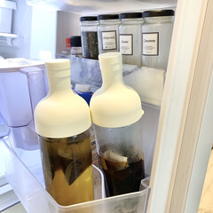 麦茶ボトル/水だし珈琲/麦茶/ハリオ/おしゃれ/冷蔵庫収納 いつも麦茶と水出しコーヒーを作るのに使っ…