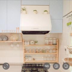 DIY/スパイスラック/壁紙/シンプルライフ/シンプルインテリア/ナチュラルインテリア/... キッチン戸棚に薄い水色の貼って剥がせる壁…