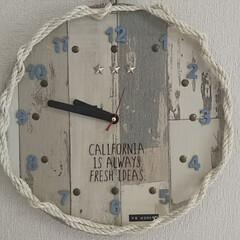 100均DIY/ダイソー/セリア/はじめてフォト投稿 西海岸風の壁掛け時計!! 100均Diy…