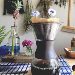 花/コーヒー/パイナップル/グリーン/暮らし 朝コーヒー。また一日のスタート!