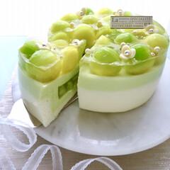 お菓子作り/手作りお菓子/手作りケーキ/ムースケーキ/ムース/メロン/... まるっとメロンムースケーキ♡ メロン1個…