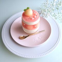 桃スイーツ/ピーチムース/桃/ムース/手作りお菓子/お菓子作り/... ピーチムース♡ 毎年作るお気に入りのデコ…