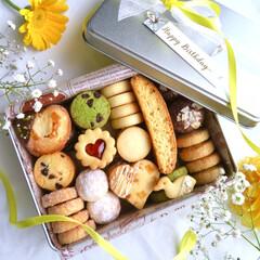 パルミエ/アイスボックスクッキー/ビスコッティ/プレゼント/手作りクッキー缶/クッキー/... 大切な友人へ贈ったクッキー缶です♡ 心を…