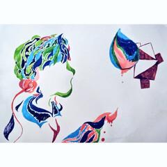 いいねありがとうございます/抽象画/絵描き女子/高校生/JK/水性ペン/... 実は絵を描くのが好きで SNSでもよく投…