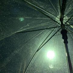 傘/雨の日 雨やだな〜 ビニール傘越しの街灯  この…