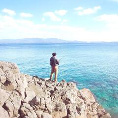 釣り/ぼうず🐟/海/マリンブルー/ブルー 絵にはなるが釣れない海