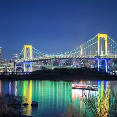 レインボーブリッジ/ベイブリッジ/夜景は難しい/夜景/フェンダー越しの私の世界/写真好きと繋がりたい/... 橋も撮ったりします☝️ 夜景は難しいです…