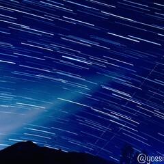 星空/岩手山/フォロー大歓迎/風景 初めての星空軌跡撮影にしては上出来?? …