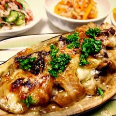 晩御飯/わたしのご飯/パーティー/おもてなし/家ご飯/おうちご飯/... 米茄子の味噌チーズ焼き✨簡単で美味しすぎ…