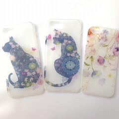 Flower/花/花柄/iPhoneケース/猫派/にゃんこ同好会/... デコパージュでiPhoneケースを作りま…