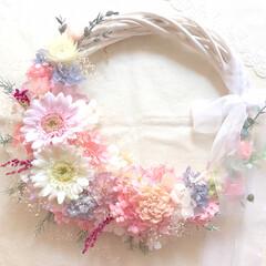結婚祝い/引越し祝い/花嫁/ウェディング/結婚式/リースブーケ/... ピンクのカラードレスに合わせてお作りしま…