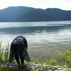 箱根/芦ノ湖/おでかけワンショット 芦ノ湖散歩中♪