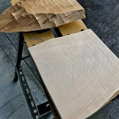 ヒノキ材/まな板DIY/キッチン雑貨/DIY まな板を作ろうと思ってヒノキの板から切り…