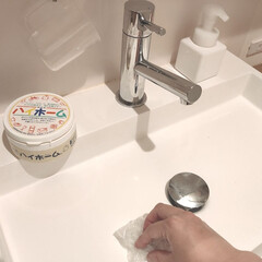 ハイホーム | 日本珪華化学工業(その他洗剤)を使ったクチコミ「キッチンシンクの念入り掃除のあとは 洗面…」(1枚目)