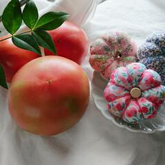 羊毛ピンクッション/羊毛/リバティプリント/リバティ/手縫い/手仕事/... 我が家産トマトと、我が家産ピンクッション…(2枚目)