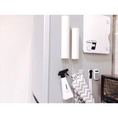 冷蔵庫横/フレナチュラ/マグネット収納/スキットマン/ラップ収納/ラップ/... ラップはカインズホームで購入したケースに…