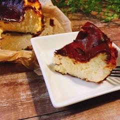 チーズケーキ/お菓子づくり/手作りお菓子/スイーツ作り/おうちカフェ/バスク風チーズケーキ/... 少し流行りに乗り遅れましたが💦  バスク…