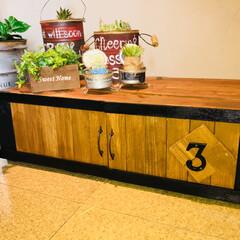 飾り棚  ボード/ディスプレイ棚  DIY ボード/キッチン雑貨/DIY/ディアウォール/雑貨/... ディスプレイ棚 ✨  プリンターを設置す…