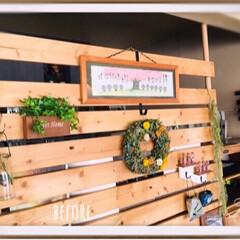 フォロー大歓迎/DIY/キッチン/キッチン雑貨/インテリア/家具/... 2×4のSPF材で作った目隠し壁⁈ディス…(2枚目)