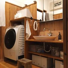 造作家具/造作洗面化粧台/洗面ボウル/洗濯機/インテリア/インダストリアル/... 我が家の造作洗面化粧台。  洗面ボウルは…