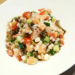 わらび/押し麦/サーモン/野菜料理/創作料理/手料理/... 【🌿サーモンと押し麦のマリネサラダ🌿】 …
