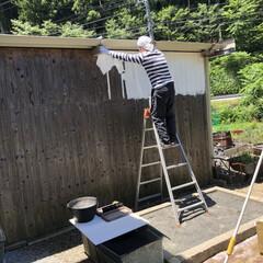 壁/車庫/中庭/ペンキ/ペイント/塗る/... 少しでも明るくなるように、ペンキも塗り塗…