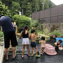 手作り/竹/流しそうめん/生活の知恵/雑貨/DIY/... 流しそうめん、竹から手作りしてもらった❤️