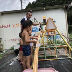 手作り/竹/流しそうめん/生活の知恵/雑貨/DIY/... 流しそうめん、竹から手作りしてもらった❤️(4枚目)