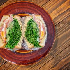 サンドイッチ/morning/朝ごはん/おうちごはん/おうちカフェ/たおカフェ/...   「野菜たっぷりサンド」  シャキシャ…