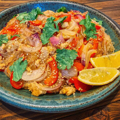 タイ料理/春雨サラダ/わたしのごはん/おうちごはん/おうちカフェ/たおカフェ/...  「春雨サラダ」  ピリ辛 、パクチーた…