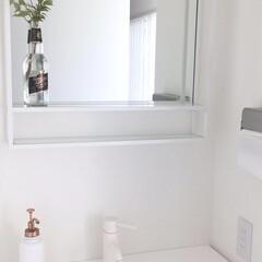 白い家/ホワイトインテリア/手洗い/持たない暮らし/モノトーンインテリア/シンプルライフ/... 一階の手洗いです🍀使うたびにペーパータオ…