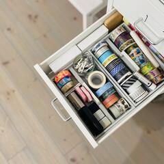カモ井加工紙 マスキングテープ mt 1P マットホワイト | エムティー(マスキングテープ)を使ったクチコミ「マスキングテープの収納です。  ここに収…」