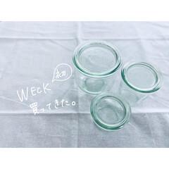 綿棒入れ/洗面台収納/暮らし/フォロー大歓迎 WECK の瓶を購入して、洗面所の整理を…