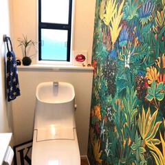 アクセントクロス/クッションフロア/ヘリンボーン床/LIXIL/トイレインテリア/ジャングル/... トイレのインテリアはほぼ100円均ででき…