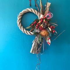 しめ縄/ドライフラワー/しめ縄飾り/雑貨/ハンドメイド ちょっと早いけれど、注連縄飾りを作りに行…