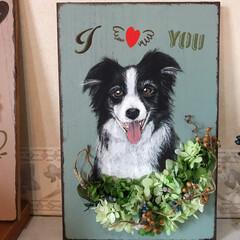 サインボード/百均リメイク/キャンドゥ/雑貨/ハンドメイド 去年の11月になくなった愛犬の似顔絵のサ…