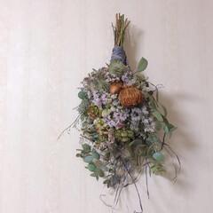 スワッグ作り/ドライフラワーのある生活/ドライフラワーのある暮らし/ドライフラワー/スワッグ お友達がくれたお花でスワッグを作りました…