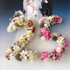 ハンドメイド/記念日/リース作り/リース/ナンバーリース/雑貨 先日銀婚式だったので 記念にナンバーリー…