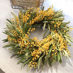 ミモザ/ミモザリース/リース作り/雑貨/ハンドメイド ミモザに庭のキンポウジュの葉っぱをあわせ…