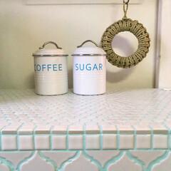バーネット キャニスター 白 COFFEE SALUS 4521540244212 キッチン雑貨   サルース(その他食器、カトラリー)を使ったクチコミ「自作カウンターにモザイクタイルを貼りまし…」